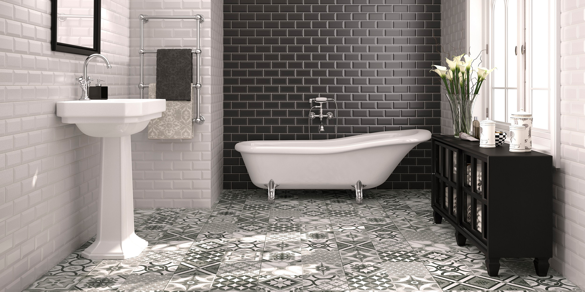 Biselado / Brillo Liso. Monocolour, Victorian style bevelled metro / subway tiles for bathroom and kitchen walls.