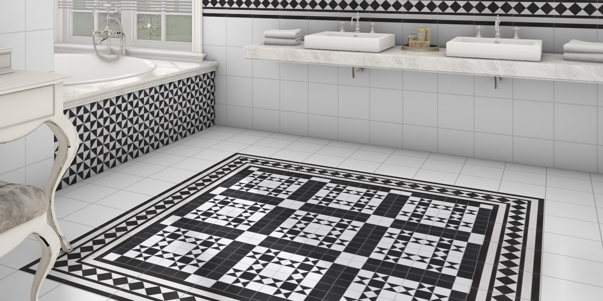 Bristol Black 25x25. Victorian style patterned floor tiles.