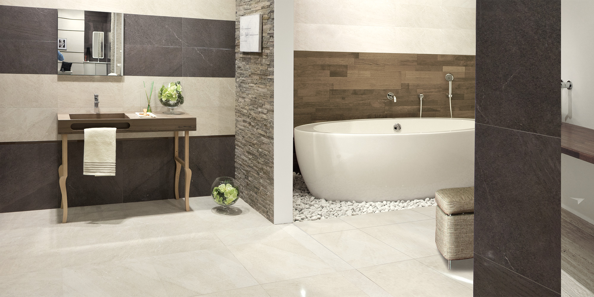 Brooklyn Lux 60x60. Semi-polished stone look budget porcelain tiles for walls and floors.