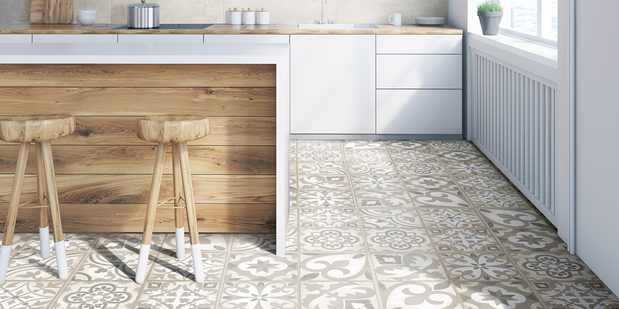 Combi 30x30. Vintage style patterned floor tiles.