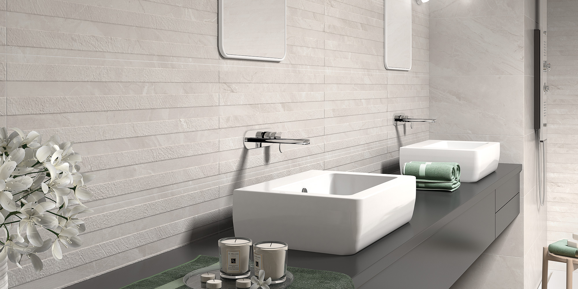 Ersa 36x80 / 45x45. Large format marble look tiles for bathroom walls and floors.