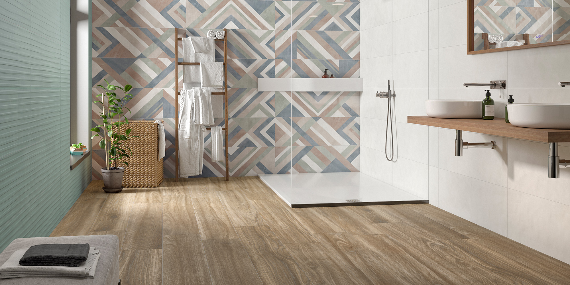 Impulse Volia Monet Forma. Mono-colour wall and floor tiles with patterned decors.