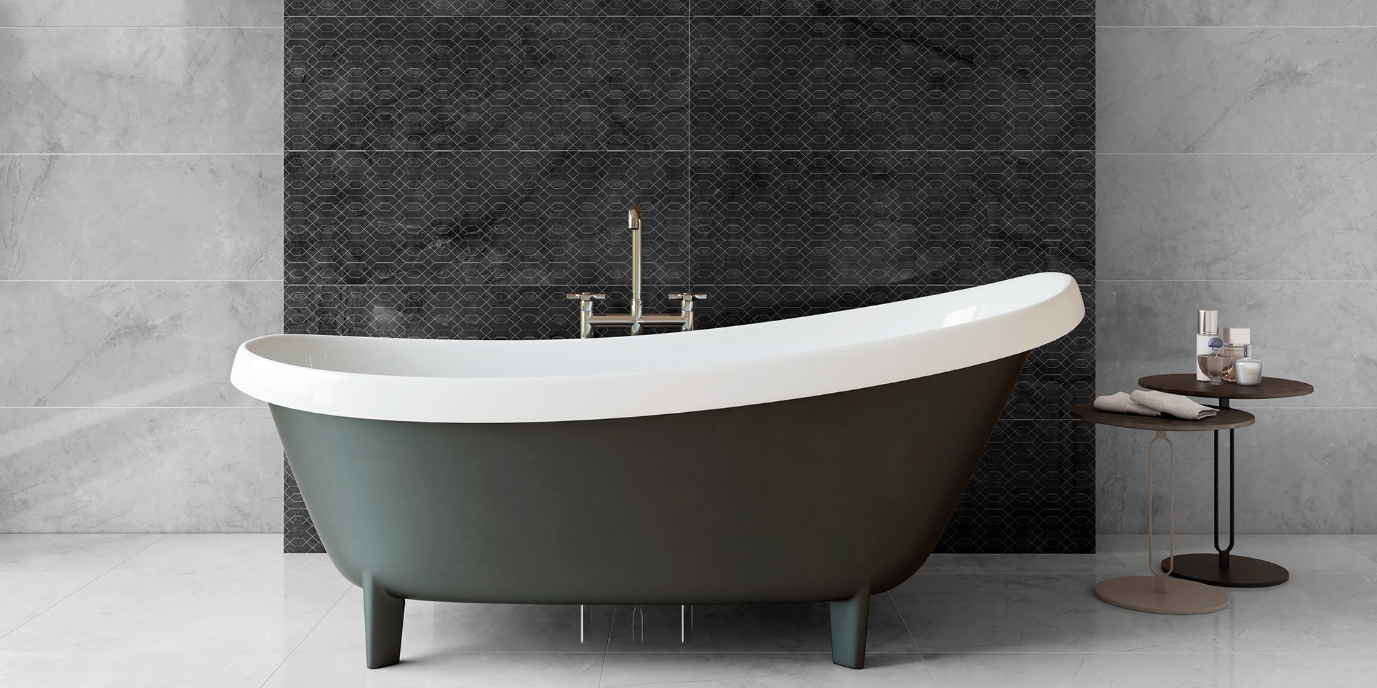 Metissage 33x100 / 60x60. High gloss finish, large format, stone look wall and floor tiles for bathroom.