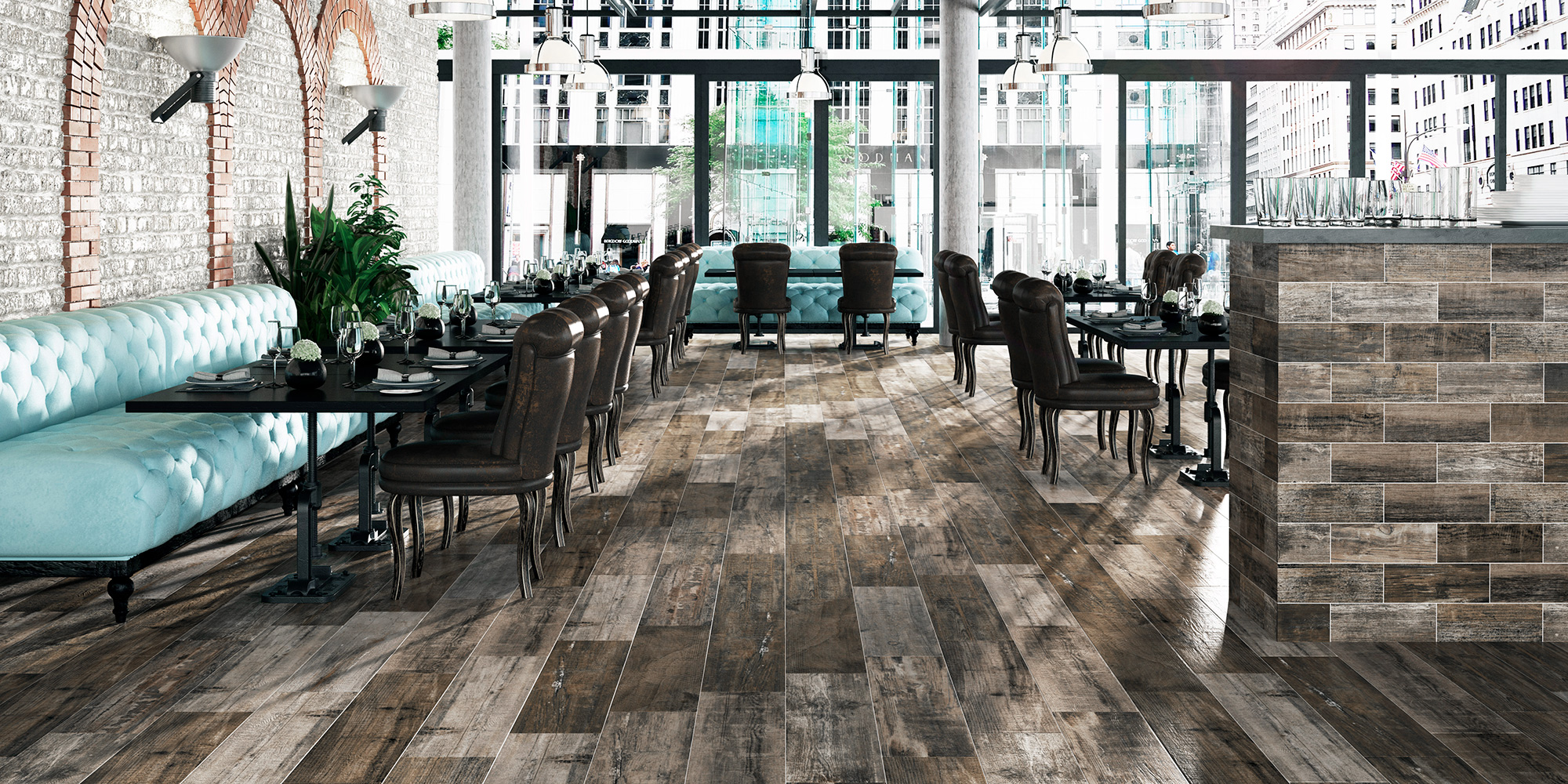 Retro 22x84. Old wood look porcelain wall and floor tiles with anti-slip rating R10 A.