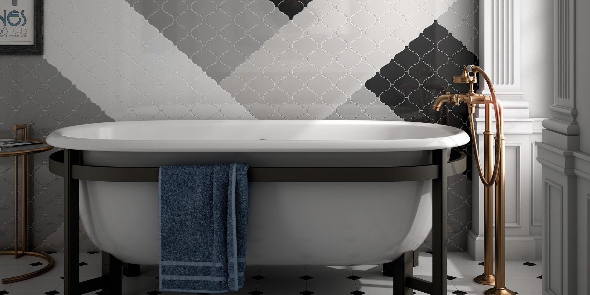 Scale. Monocolour retro look high gloss bathroom and kitchen wall tiles.