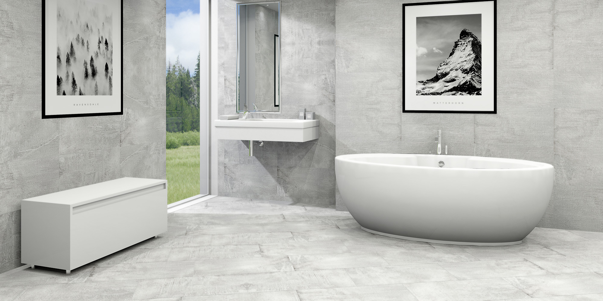 Signum Silver and Grey 33x66. Textured stone look wall and floor porcelain tiles with 3D effect relief decors.