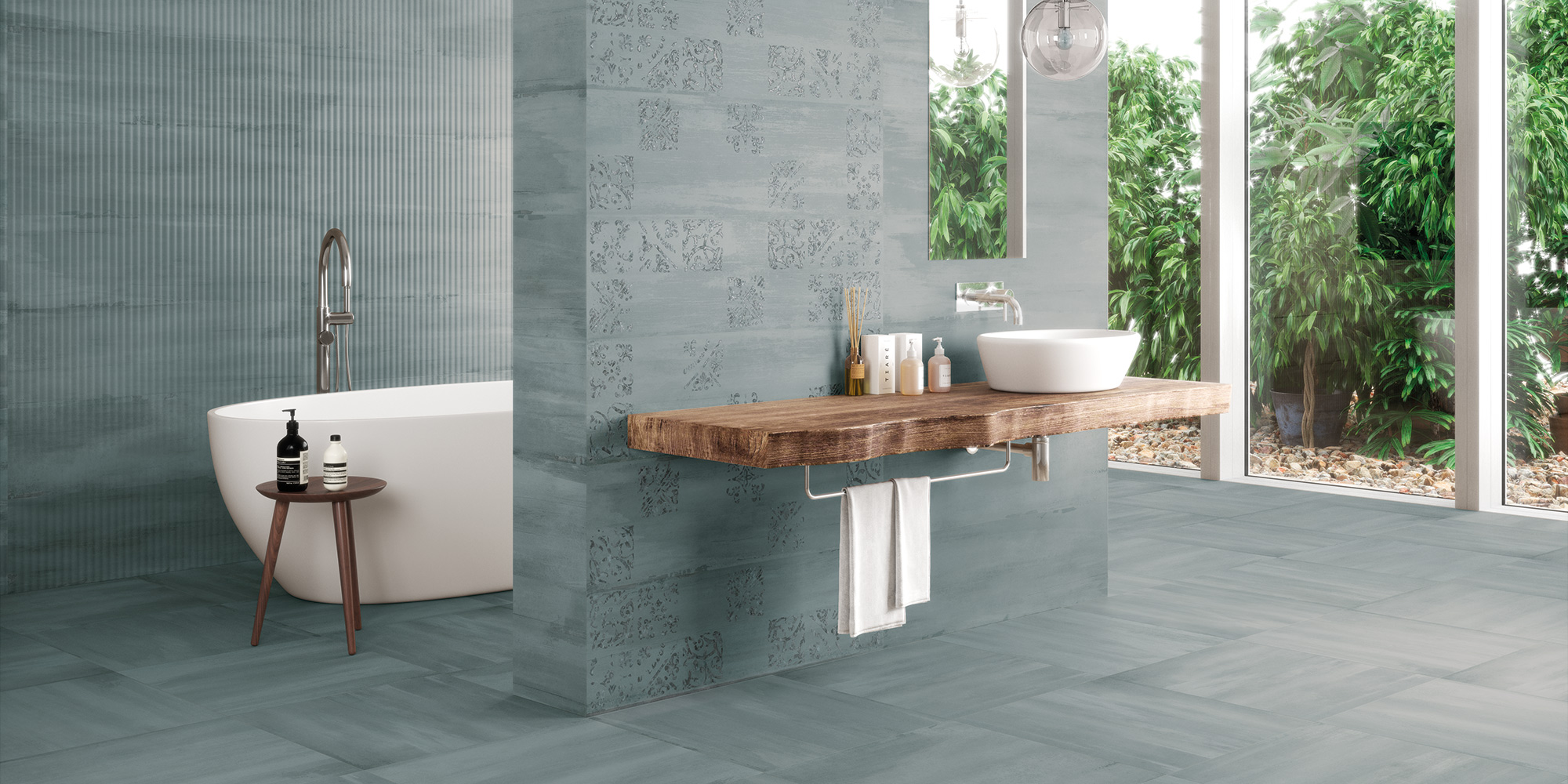 Sospiro 29x100 / 20x20. Monocolour concrete wall and floor tiles.