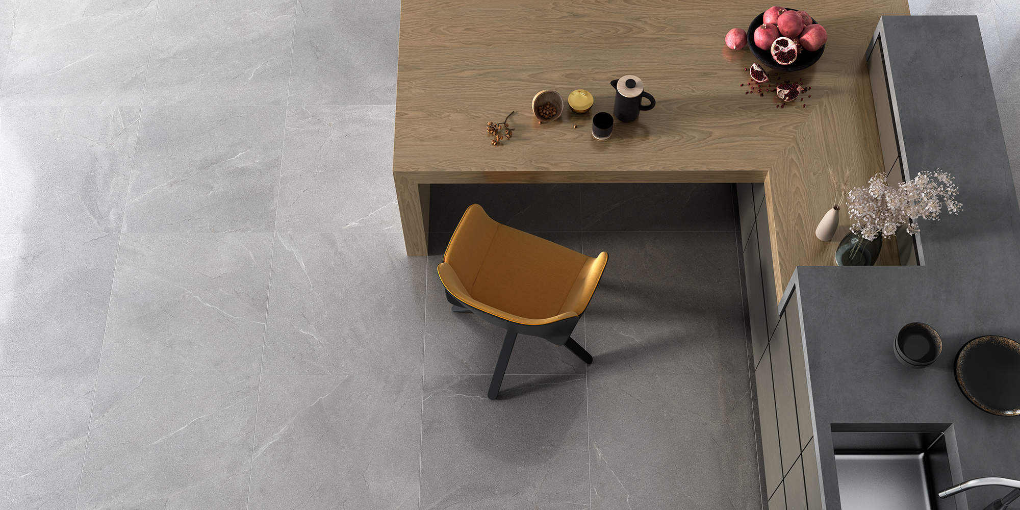 Terra 60x60. Natural stone look semi-polished porcelain tiles suitable for walls and floors.