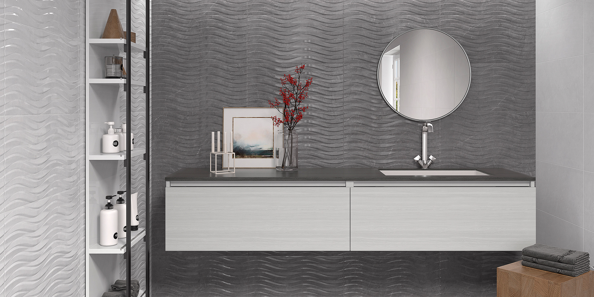 Venice 30x60 / 60x60. High gloss marble look wall and floor tiles for residential and commercial applications.
