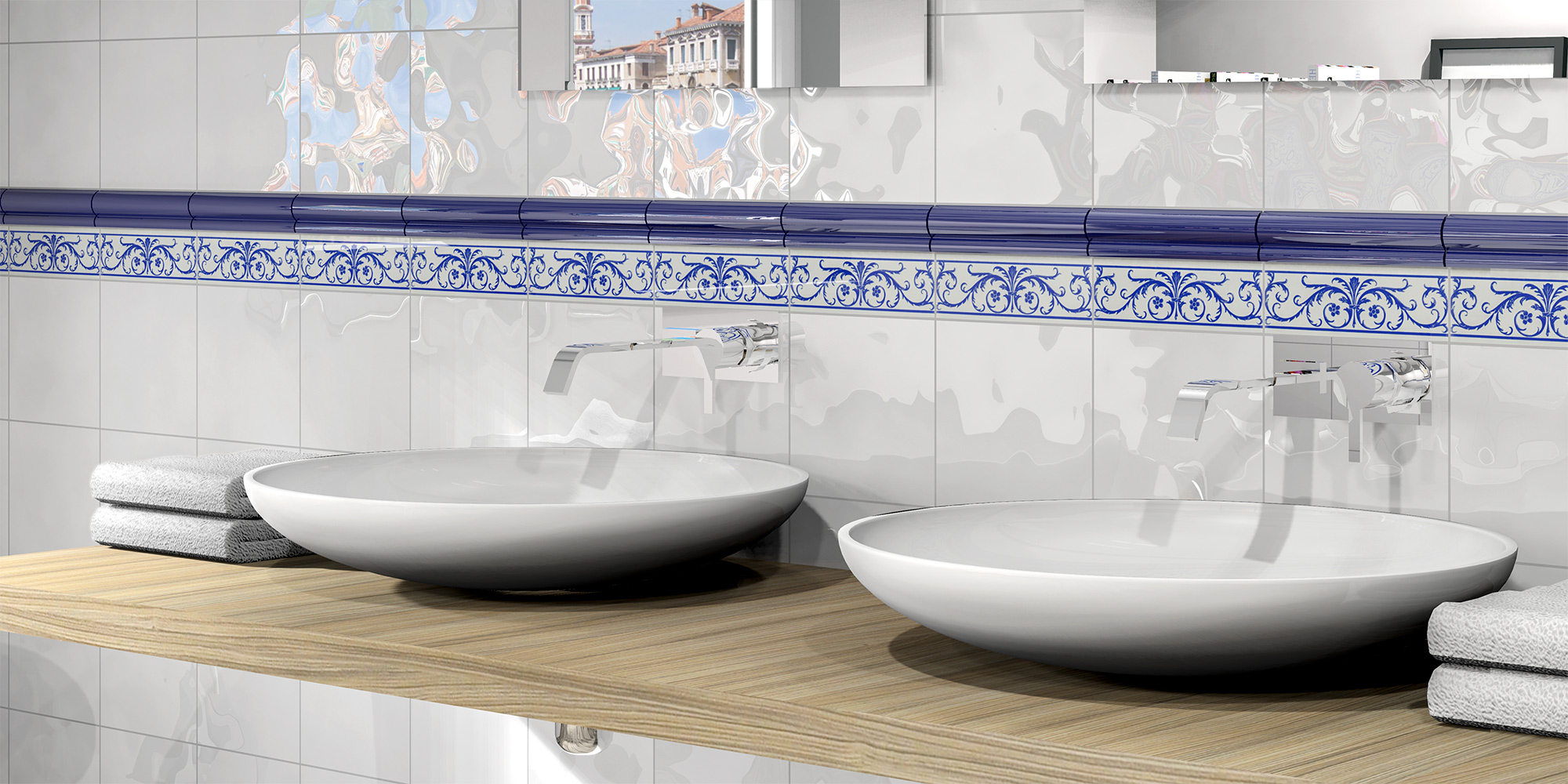 White ceramic wall tiles for bathrooms.