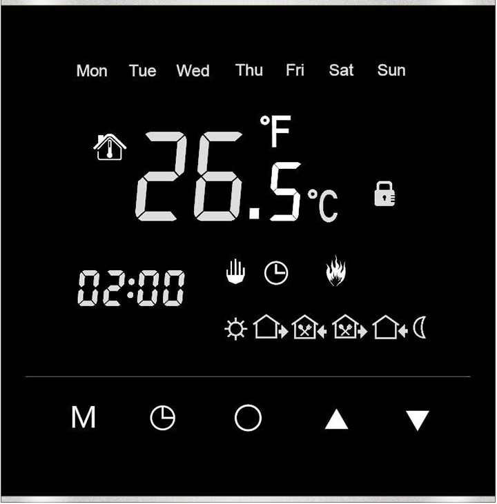 Amber Pro digital programmable touch screen thermostat.