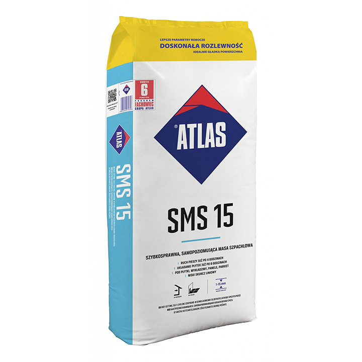 Atlas SMS 15 1-15mm fast setting self-levelling compound.