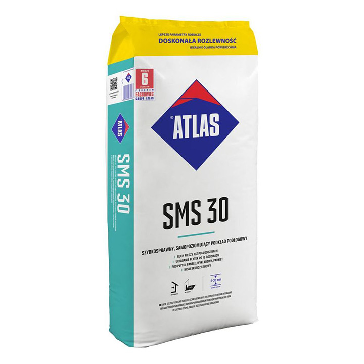 Atlas SMS 30 3-30mm fast setting self-levelling compound.