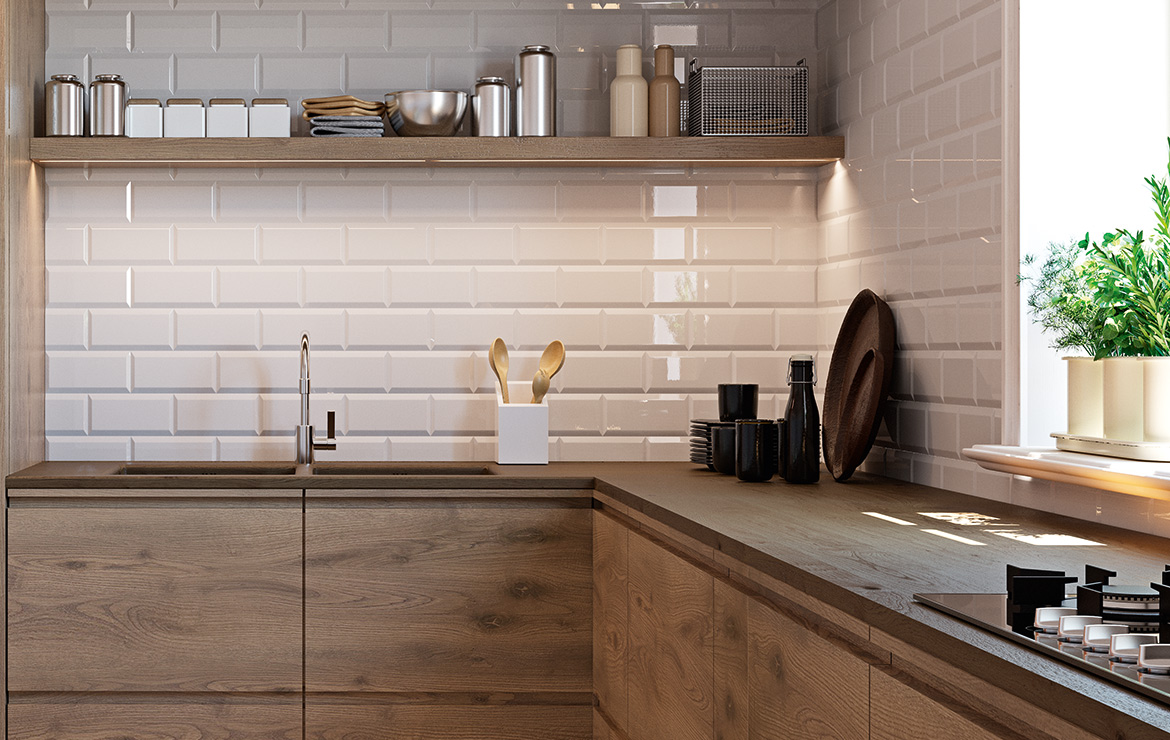 Biselado Crema 10x20. Modern kitchen interior design with metro wall tiles.