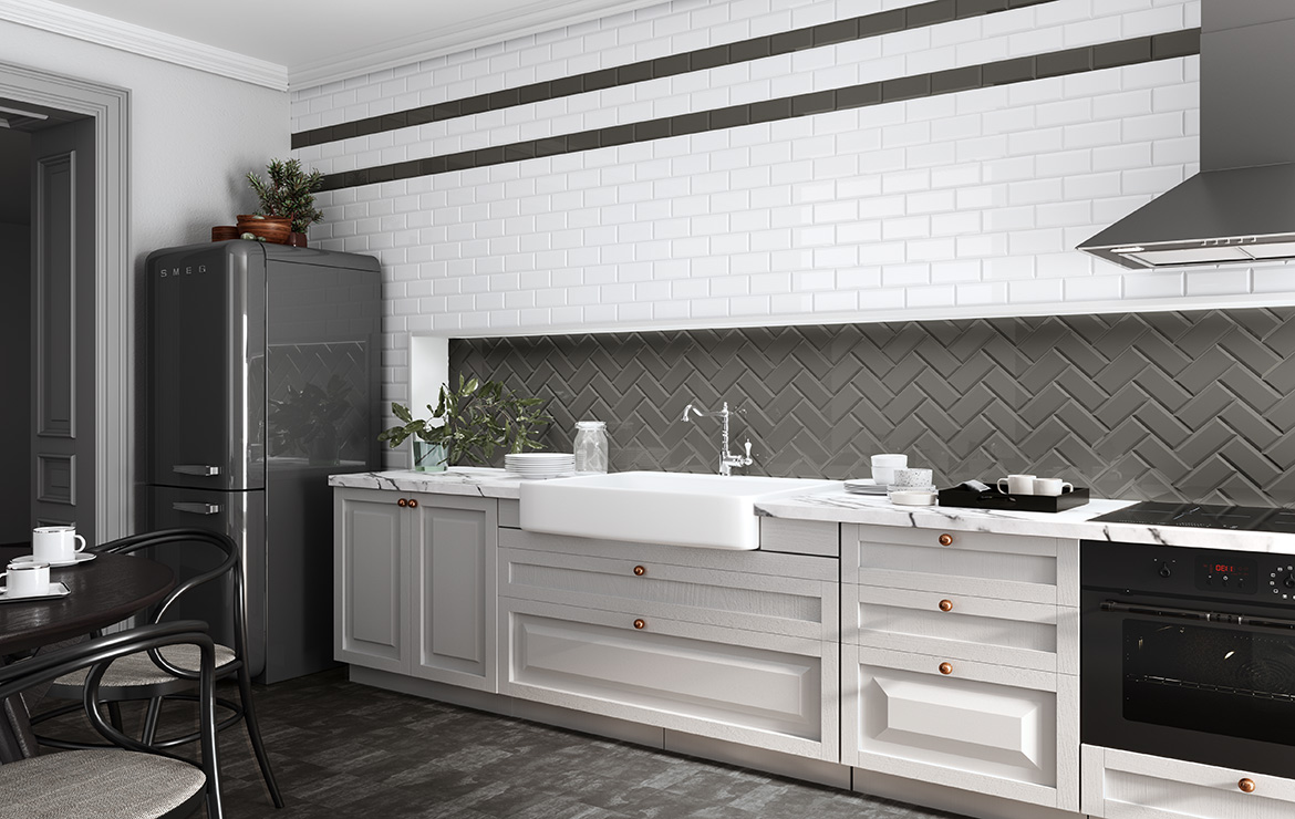 Biselado Marengo 10x20. Dark Grey bevelled tile Metro style kitchen backsplash.