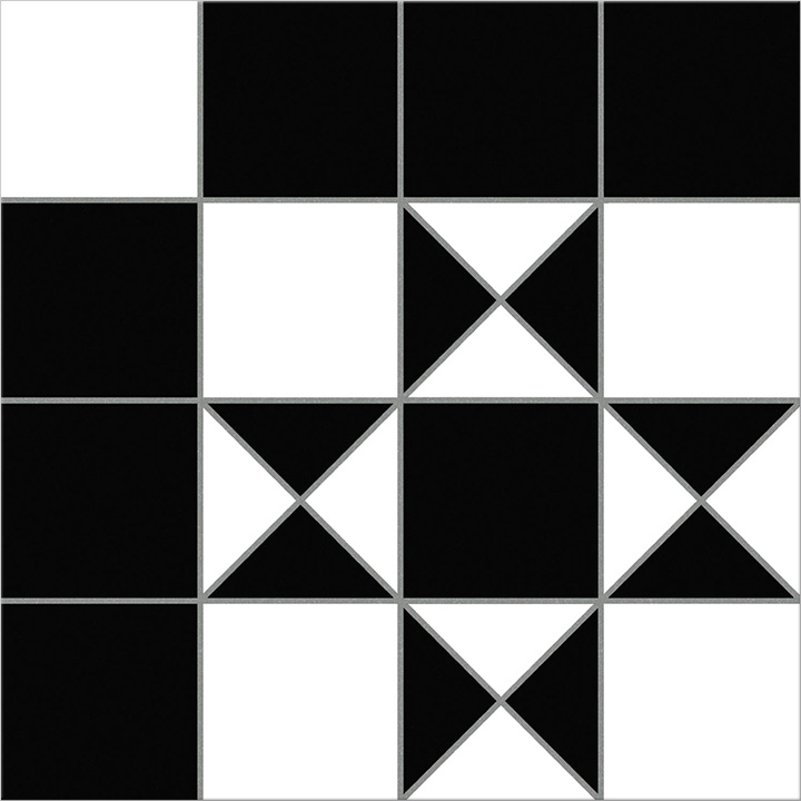 Bristol Black 25x25. Victorian style black and white patterned floor tile.