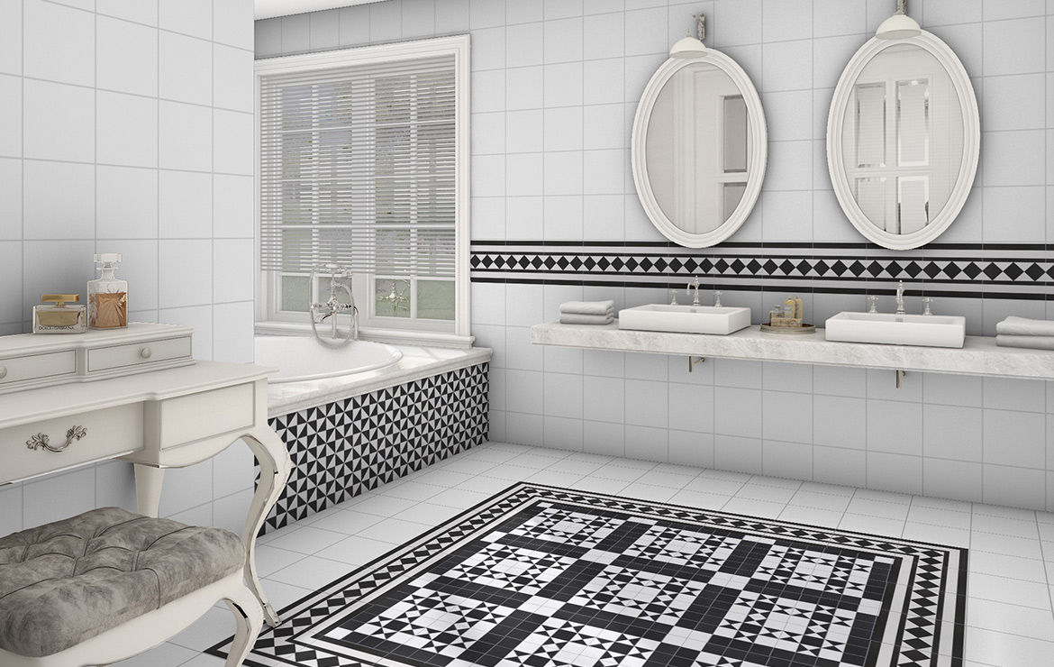 Classic Victorian Style bathroom interior design with patterned floor tiles Bristol Black 25x25