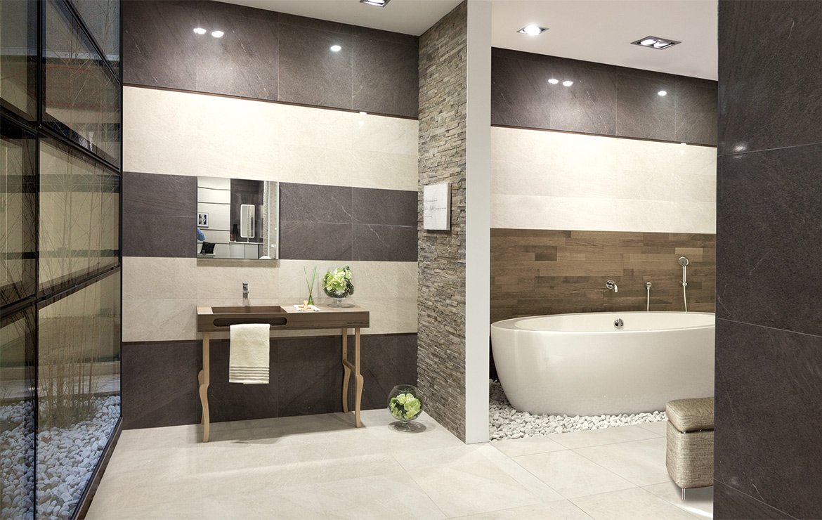Brooklyn Lux 60x60 Cream and Coal. Modern style bathroom interior design with semi-polished stone look porcelain wall and floor tiles.
