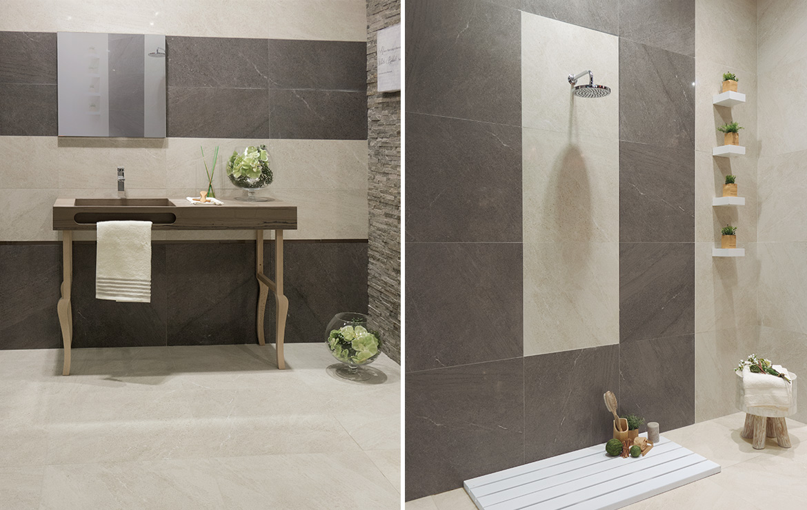 Brooklyn Lux 60x60 Cream and Coal. Modern style budget bathroom wall design details.