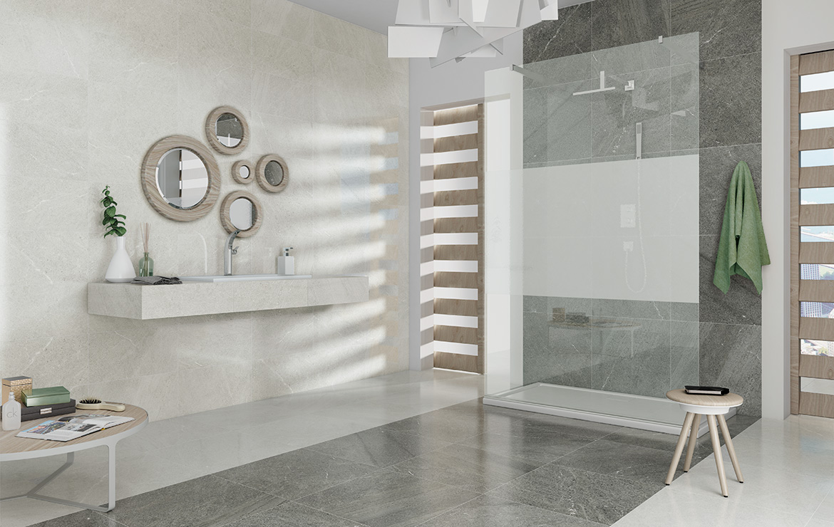 Brooklyn Lux 60x60 Ice and Grey. Modern style budget bathroom interior design with stone look semi-polished wall and floor tiles.