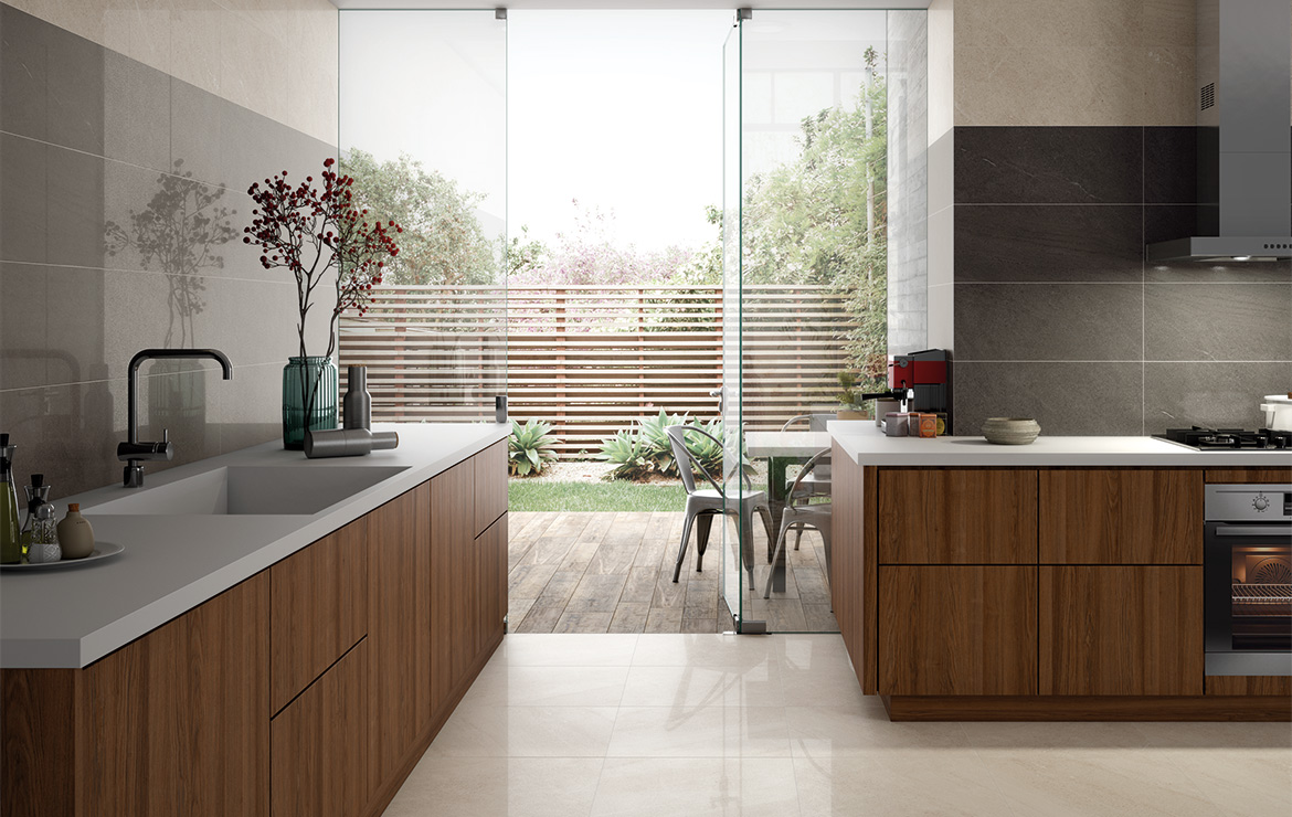 Brooklyn Lux 60x60 Cream and Coal. Modern style budget kitchen interior design with semi-polished wall and floor tiles.