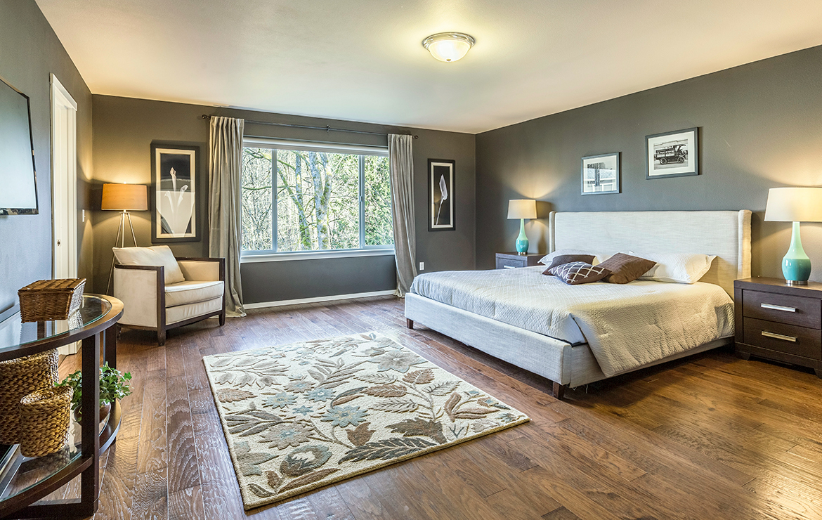 Irish house large bedroom classic style interior design with engineered wood flooring Caislean Oak Collection
