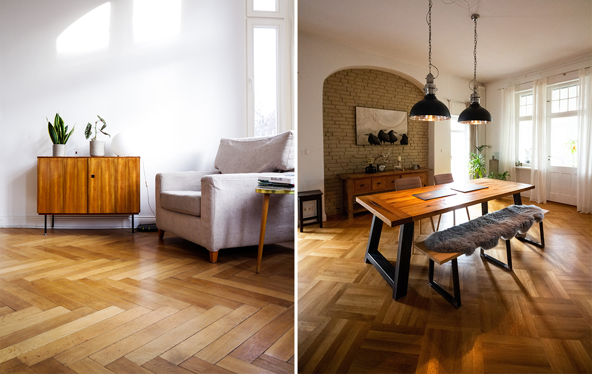 Herringbone engineered wood flooring Caislean Oak Collection for residential and commercial floors