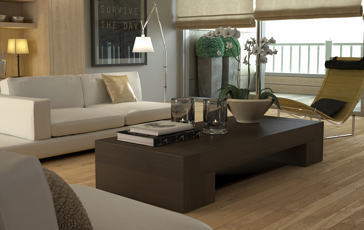 Irish apartment large living room modern style interior design with engineered wood flooring Caislean Oak Collection