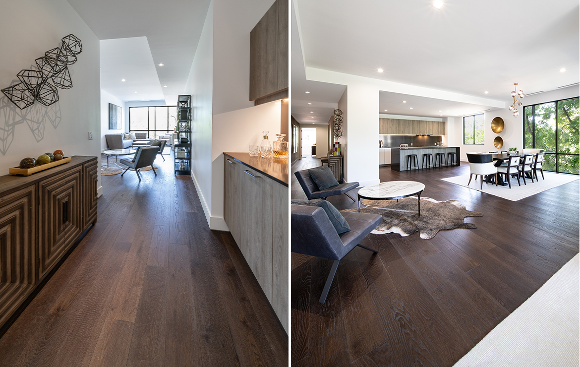 Irish house large living room modern style interior design with engineered wood flooring Caislean Oak Collection