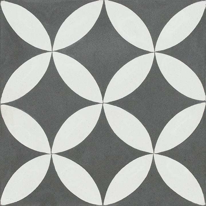 Patterned vintage effect cement tiles for walls and floors. Cana 20x20.