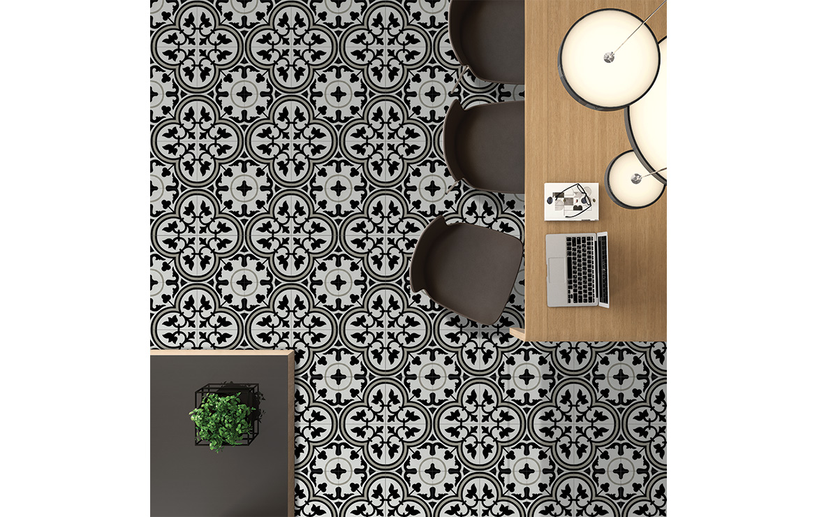 Vintage effect floor design with the patterned cement tiles Banana Flower 20x20.