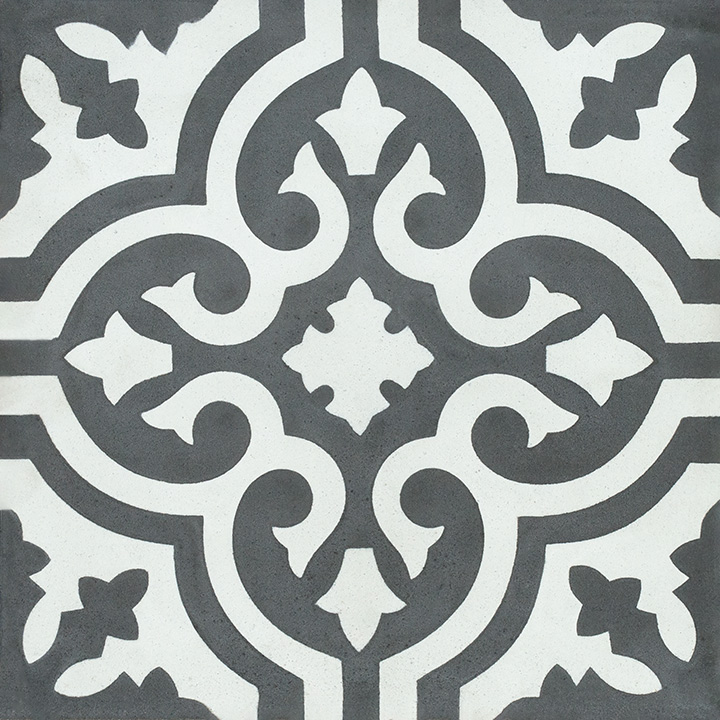 Patterned vintage effect cement tiles for walls and floors. Spider 20x20.