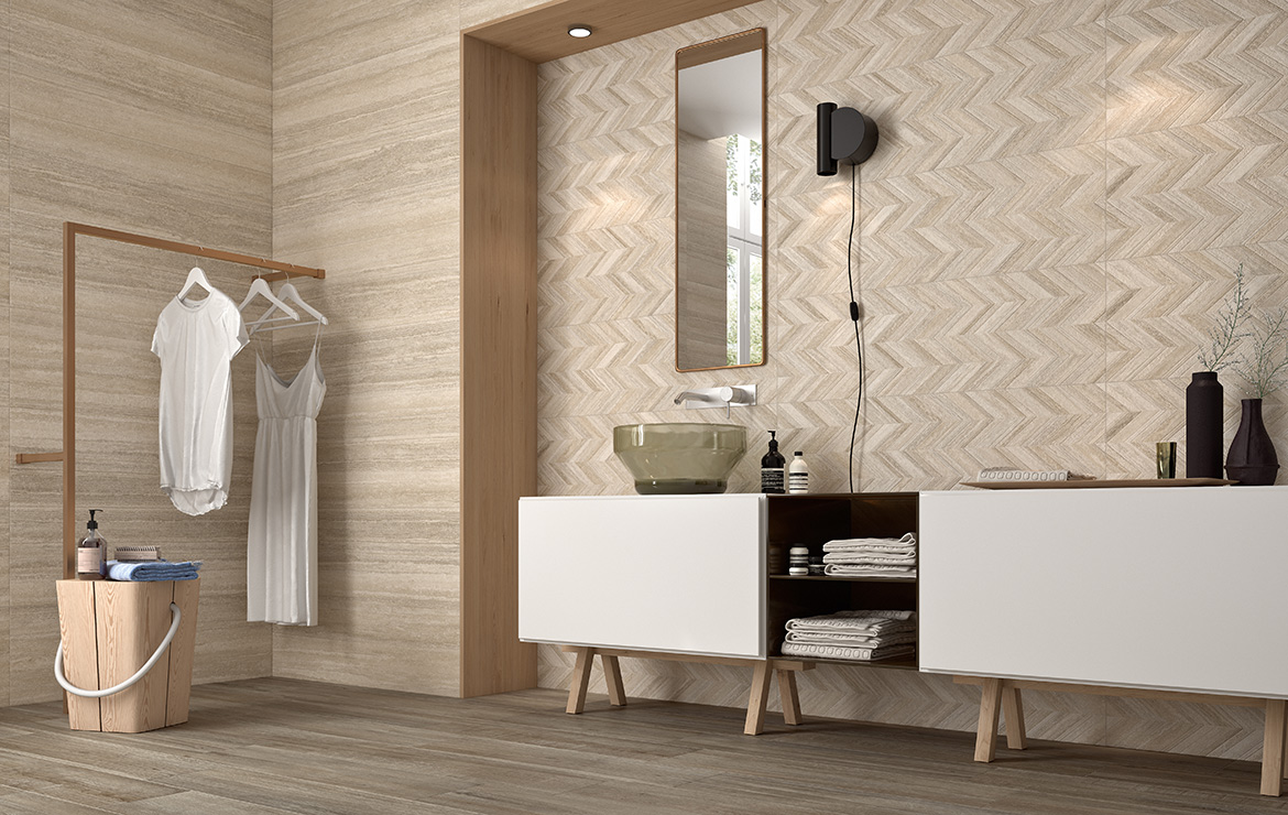 Modern style bathroom interior design with stone look wall tiles and Zig-Zag pattern decoration - Coliseum and Dynasty Bone 31.6x100.