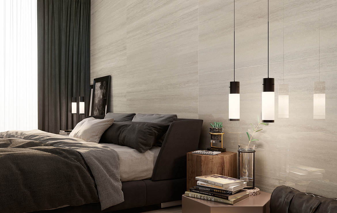 Modern style hotel bedroom interior design with stone look wall tiles Coliseum Grey 31.6x100.
