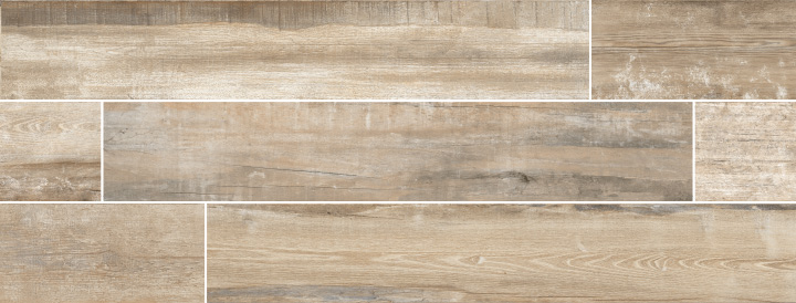 Colonial Natural Soft 20x120. Extra long plank aged oak wood look porcelain tile with anti-slip rating R10 C.