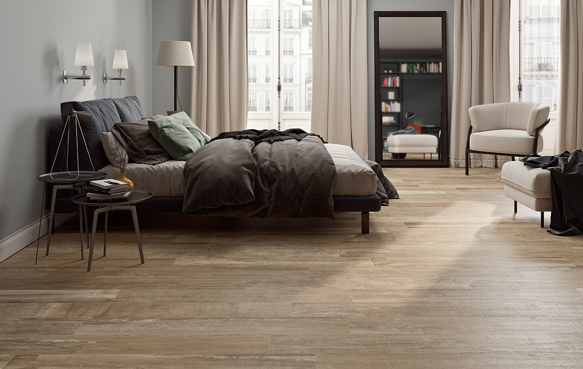 Nordic style bedroom interior design with aged oak look porcelain floor tiles Colonial Natural Soft 20x120.