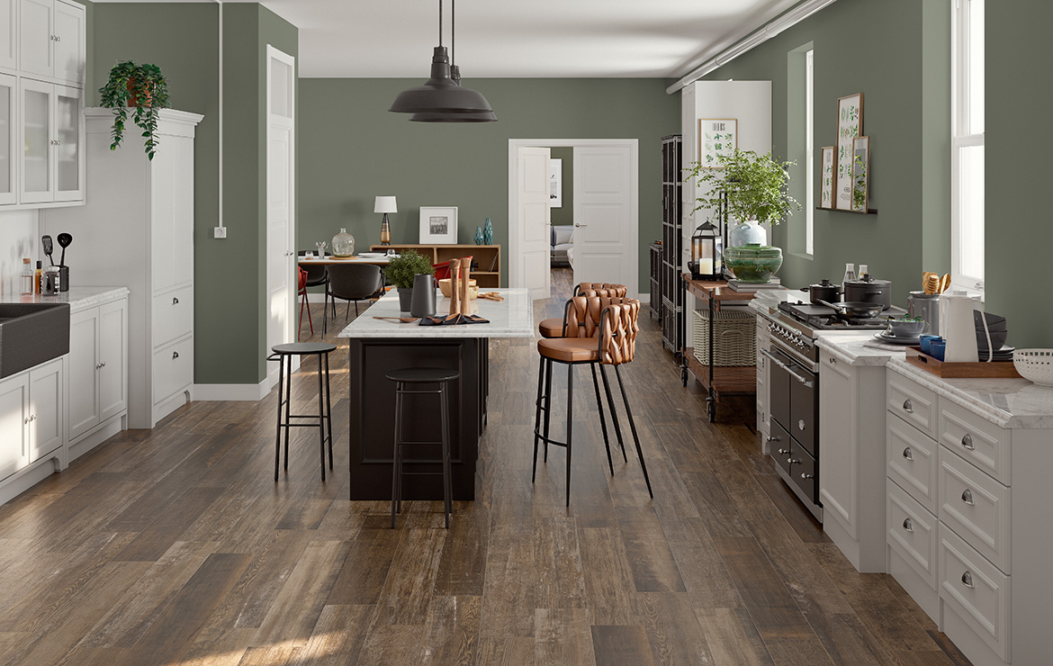 Irish kitchen interior design with aged oak look porcelain floor tiles Colonial Noce Soft 20x120.