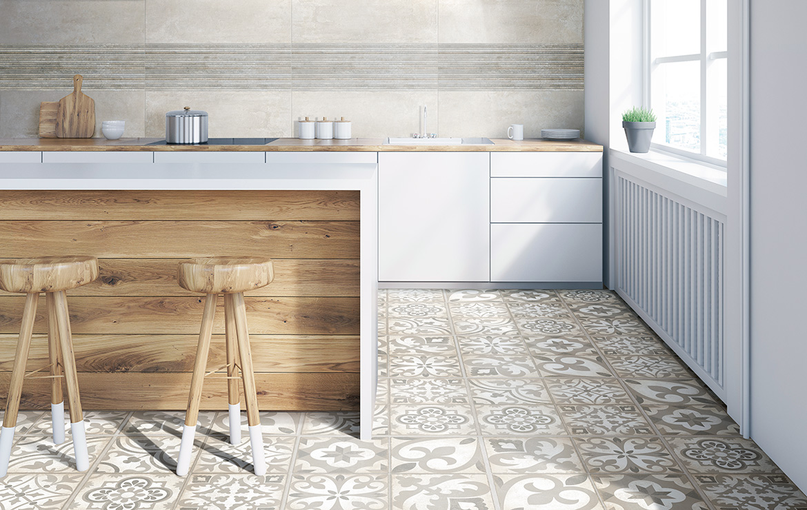 Retro style kitchen interior design with Combi Beige 30x30 patterned floor tiles.