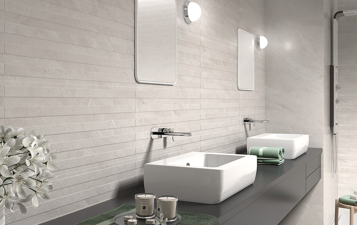 Ersa White and Relief White 36x80. Classic style bathroom interior design with marble look wall and floor tiles.
