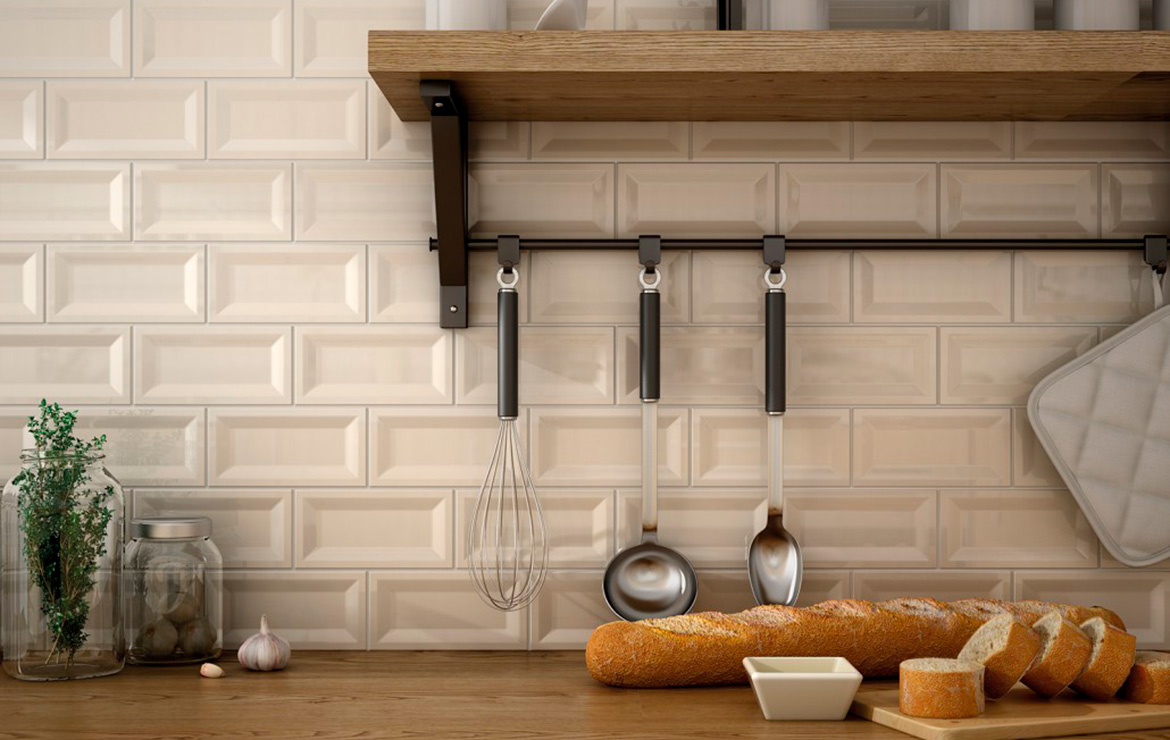 Evolution Inmetro Ivory 7.5x15. Country style kitchen backsplash design with Metro / Subway high gloss wall tiles.