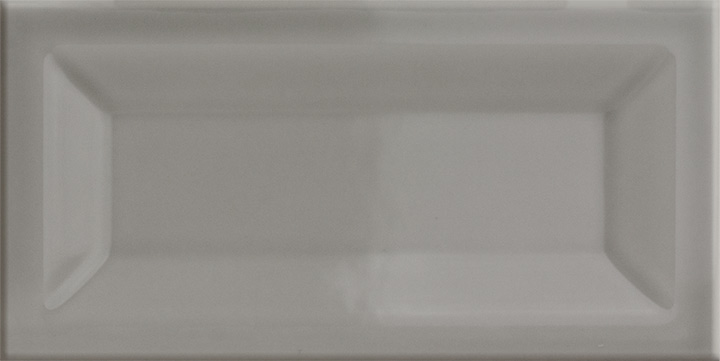 Evolution Inmetro Light Grey 7.5x15. Metro style high gloss wall tile with concave surface.