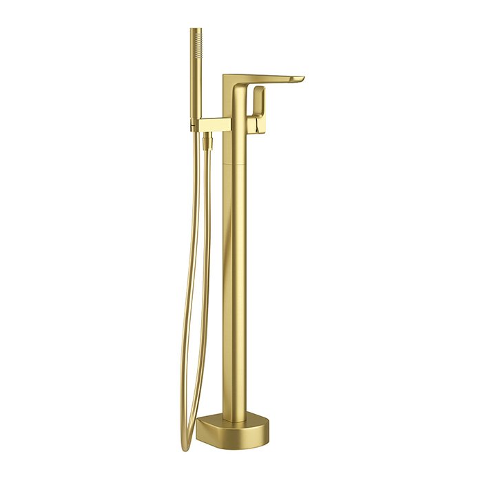 Floor standing bath shower mixer - Pure Brushed Brass