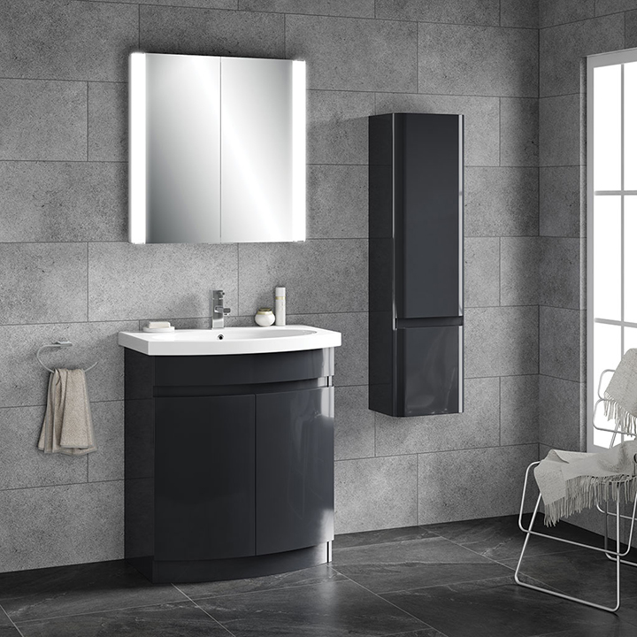 Bathroom furniture collection Riva Curve floor unit