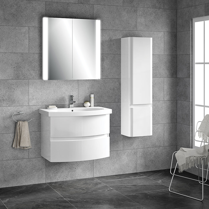 Bathroom furniture collection Riva Curve wall unit