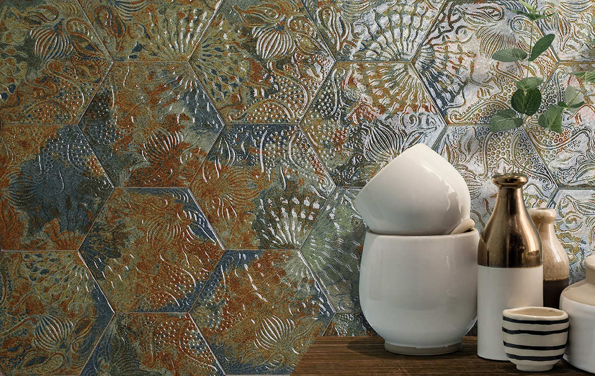 Vintage style wall design with high gloss hexagonal ceramic tiles. Gaudi Reactive Ocean Hex 22x25.
