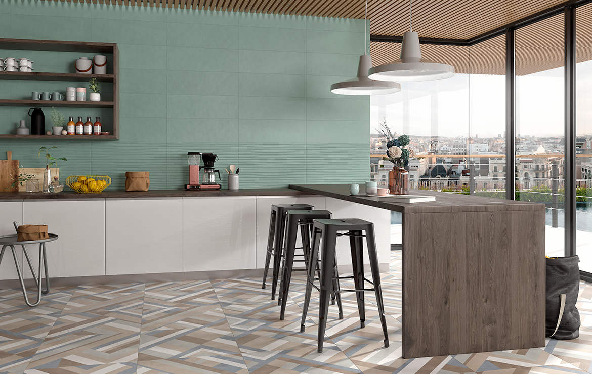 Impulse and Volia Turquoise Mate 25x75. Modern style colour kitchen interior design.