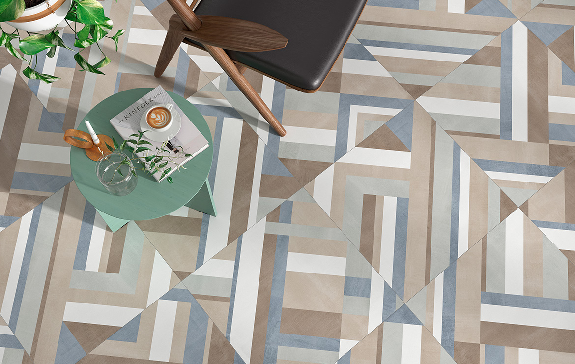Forma Mix Mate 60x60. Modern style colour patterned floor design.