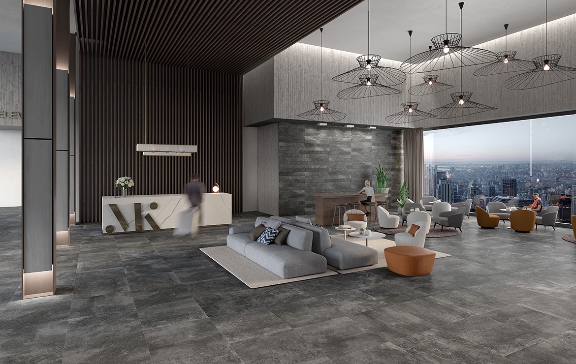 Modern style hotel lobby interior design with natural stone look porcelain tiles Kainos Shadow 90x90.