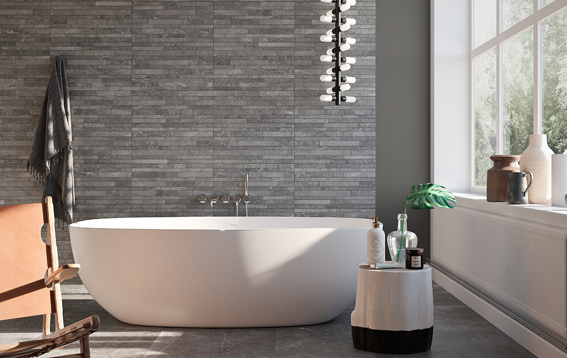 Modern style bathroom interior design with natural stone look porcelain tiles and mosaic Kainos Grey 90x90.