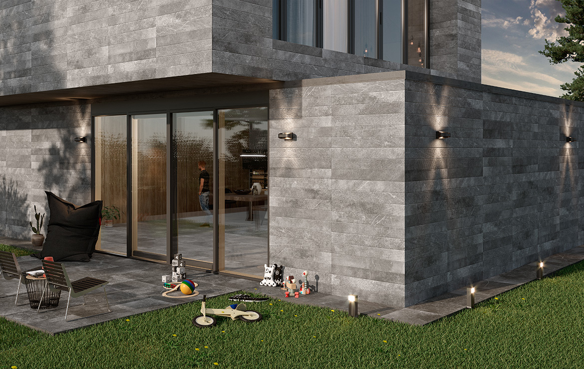 Modern style Irish house design with natural stone look cladding porcelain tiles Kainos Grey 90x90.